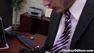 Colby Keller in the office sucking boss