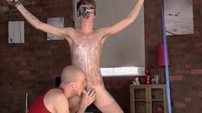 Sexy gay Kieron Knight enjoys to gargle the red hot jizz geyser right