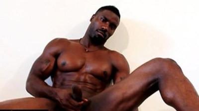 Huge ebony guy wanking off hard