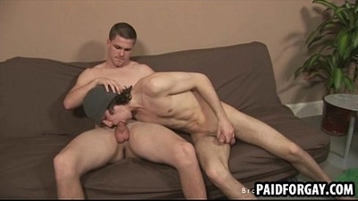 Straight stud sucks and tugs a cock for some money