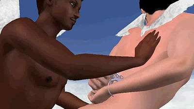 Horny 3D angels having interracial sex in the clouds
